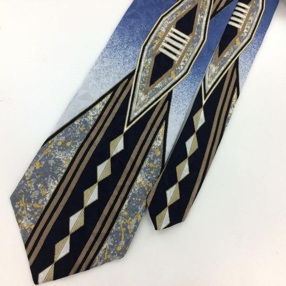 07c88606eb97 CLOUD NINE Other - BLUE GEOMETRIC Art Deco Men Designer Necktie Ties